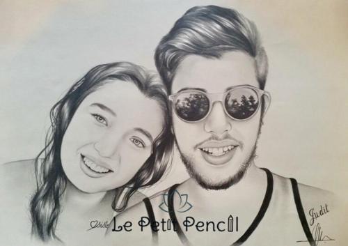 retrato a lapiz le petit pencil rostro pareja