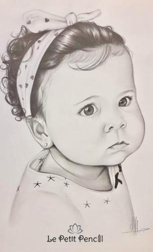 retrato INFANTIL a lapiz barcelona bebe