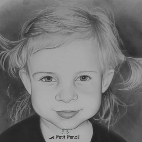 retrato a lapiz le petit pencil rostro niña bella